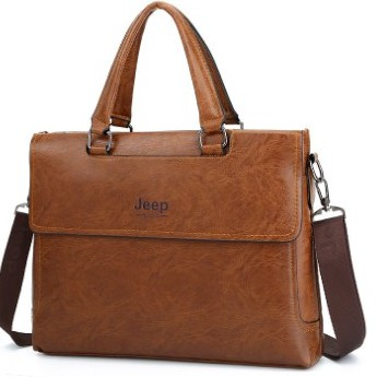 Túi xách da công sở JEEP BULUO cao cấp đựng laptop 14 inch, giáo án, hồ sơ A4