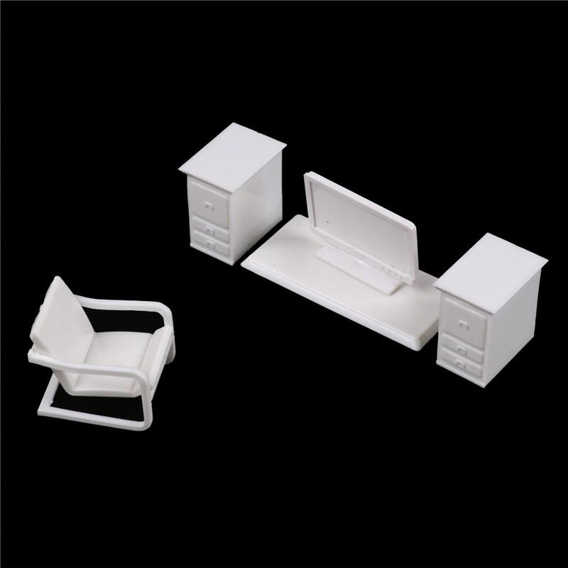 MT Dollhouse Miniature Furniture Desk+Laptop+Chair Model landscape Sand  Model Toy NY