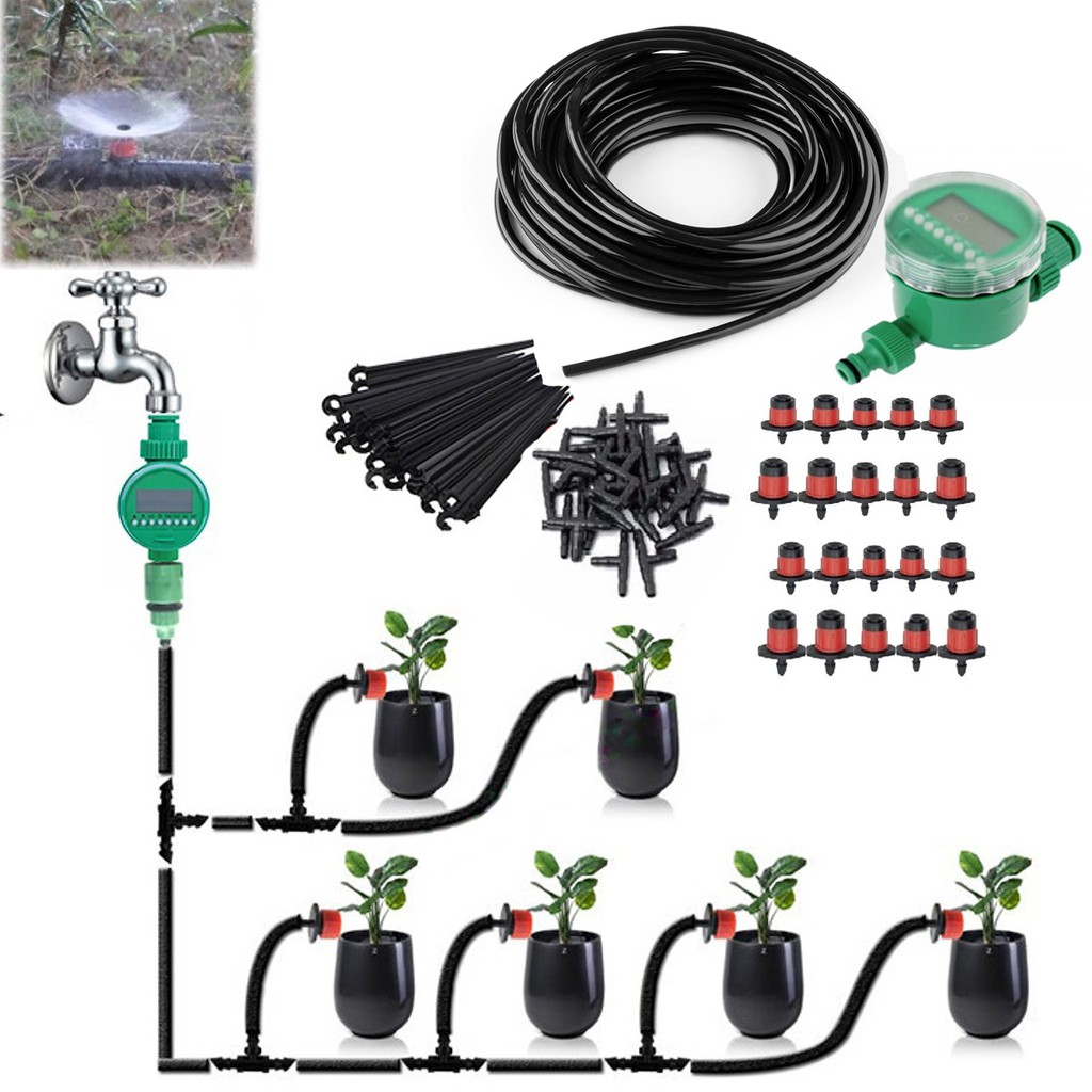 Combo bộ tưới cây tự động gồm 20 đầu tưới nhỏ giọt, 20m dây dẫn nước, 01 đồng hộ đặt thời gian tưới tự động và phụ kiện