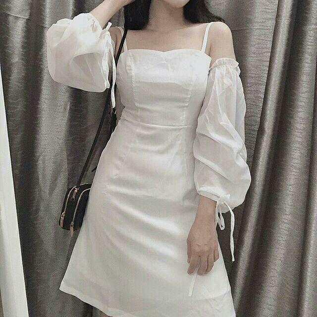 Đầm trắng tay voan kèm ảnh thật