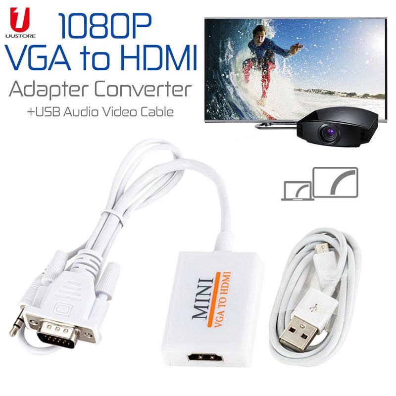 VGA to HDMI Adapter, VGA Male to HDMI Female Cable Converter Support