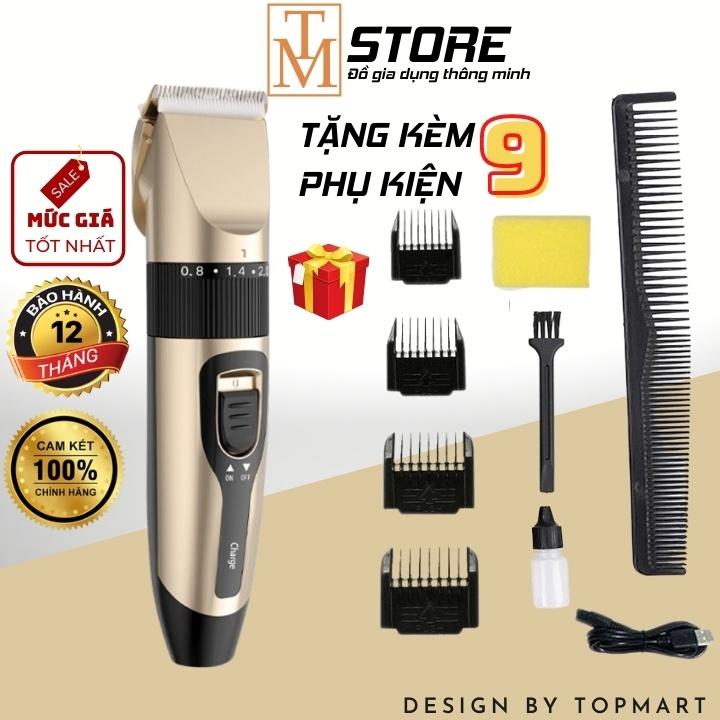 Tông đơ cắt tóc gia đình - Sạc USB - Tặng kèm 9 phụ kiện TD1