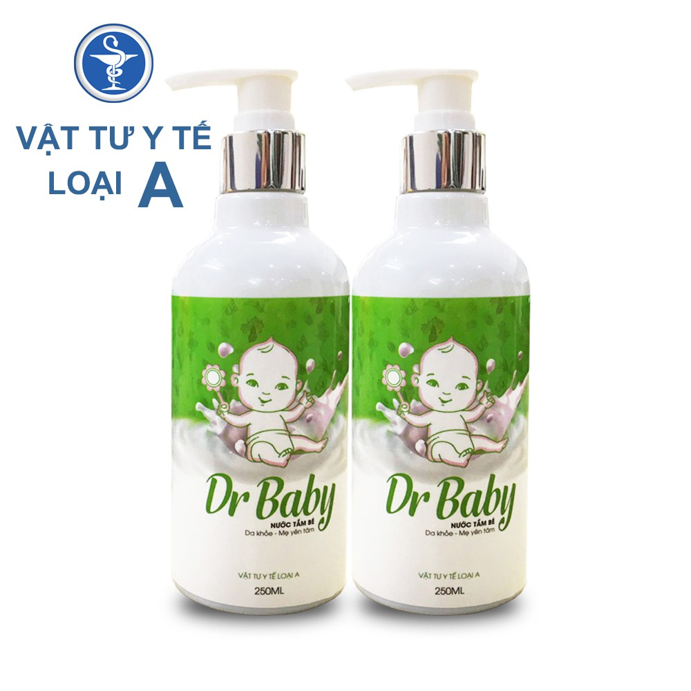 Combo 2 Chai Nước Tắm Thảo Dược Cho Bé Dr Baby 250ml Trị Rôm Sảy, Mẩn Ngứa, Chàm Da, Hăm Tã
