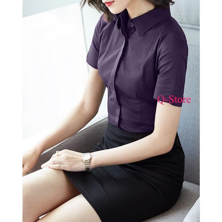 Mặc gì đẹp: Phong cách với Sơ mi công sở nữ ngắn tay màu trắng dáng hàn quốc