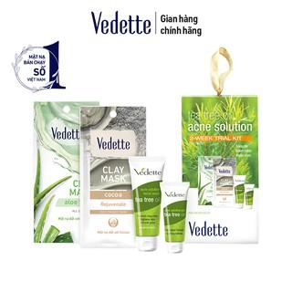 Bộ dưỡng da ngừa mụn Vedette tinh chất tràm trà Tea Tree Oil Acne Solution - phiên bản mini