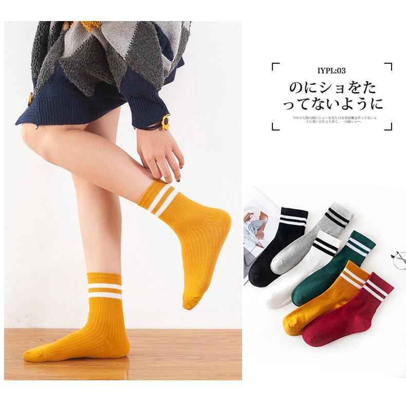 Tất chân thể thao bằng cotton trơn màu chất vải mềm phong cách Hàn Quốc cho nữ H&G