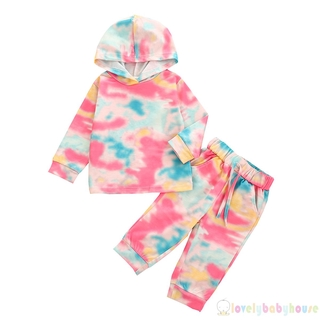 ♛❀♛2 Pcs Baby´s Girl Casual Tie Dye Long Sleeve Hoodie Top+Loose Drawstring Trousers with Pockets