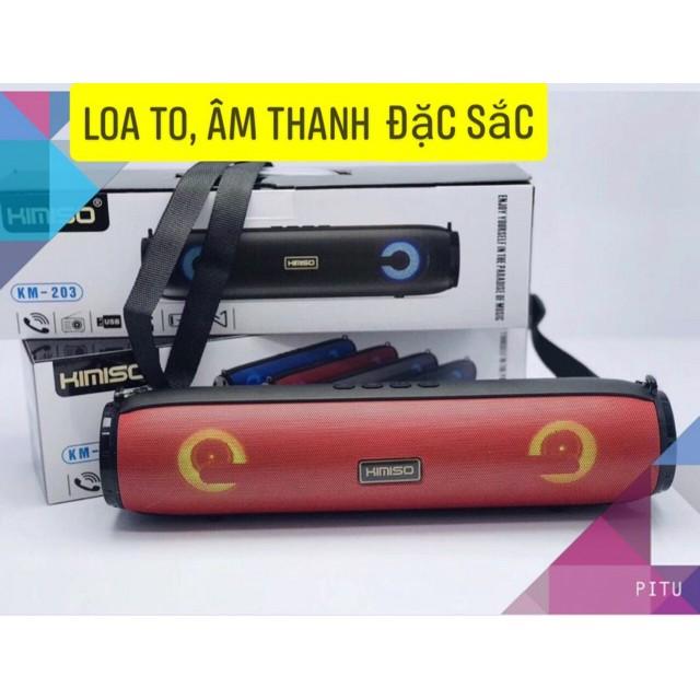 Loa bluetooth stereo KIMISO KM-203 TWS kết nối cùng lúc 2 loa - có đèn led và dây đeo (nhiều màu)