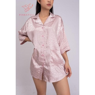 Áo ngủ lụa Pijamas Pink Stull họa tiết beo hồng thumbnail