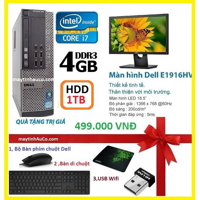 Máy tính để bàn đồng bộ Dell optiplex 390 ( Core i7 / 4G / 1000G ),Màn hình 18.5 Wide - Led, Tặng Bộ bàn phím chuột dell
