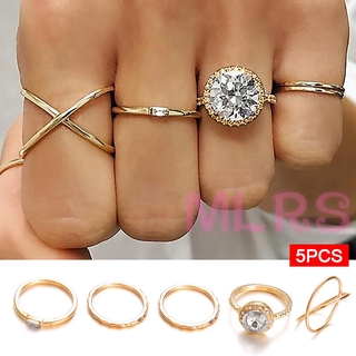 MS 5 Pcs Women Retro Style Rings Set Classic Inlaid Zircon Lady Jewelry Gifts &VN