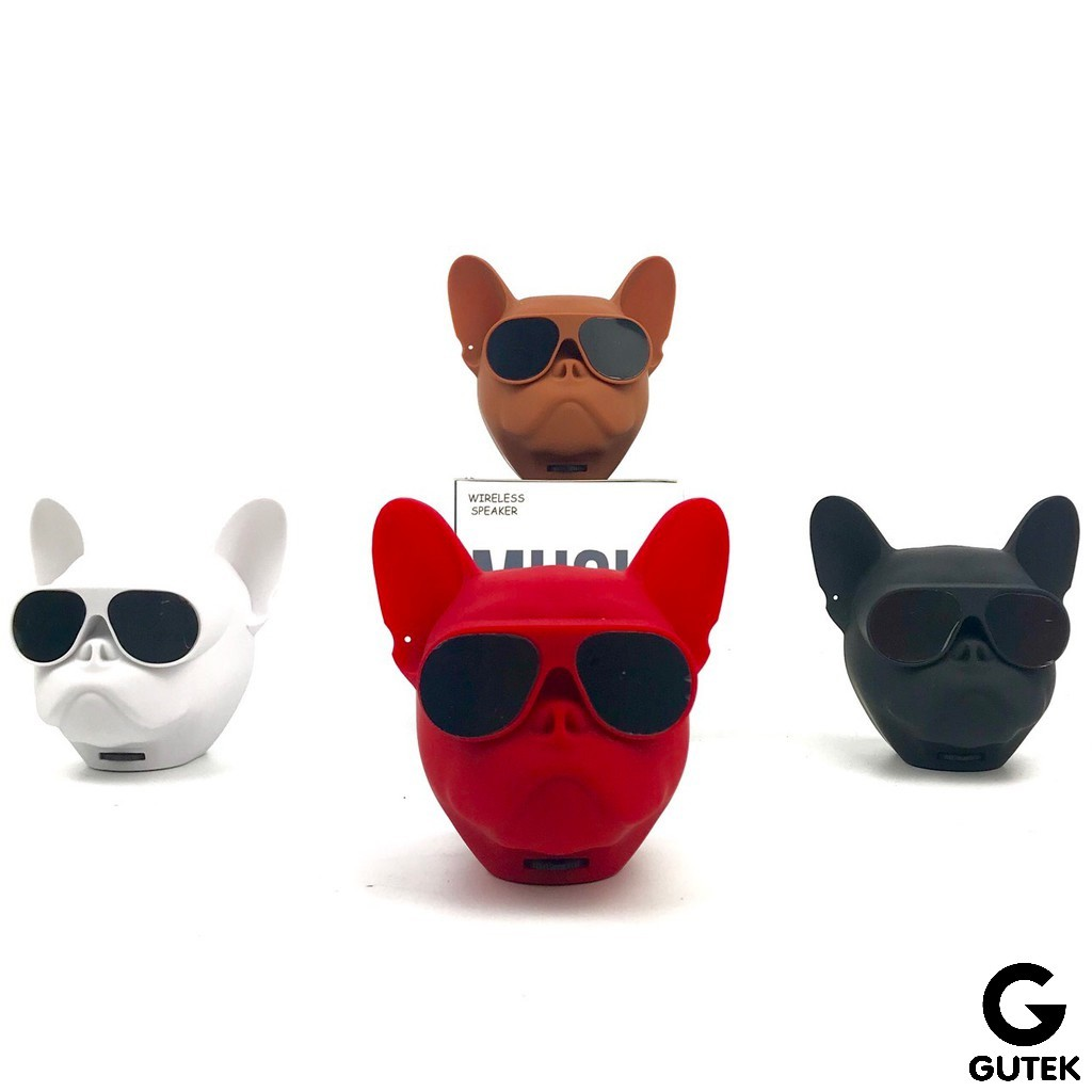 Loa Bluetooth Mini Đầu Chó Bull Nghe Nhạc Cầm Tay Có Dây Đeo Kết Nối Không Dây Hỗ Trợ Thẻ Nhớ Gutek F4