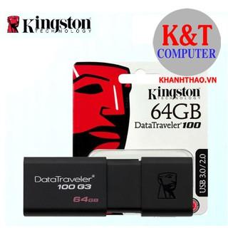 [Mã ELFLASH5 giảm 20K đơn 50K] USB Kingston DT 100G3 64GB USB 3.0 (DT100G3/64G) - Hàng chính hãng