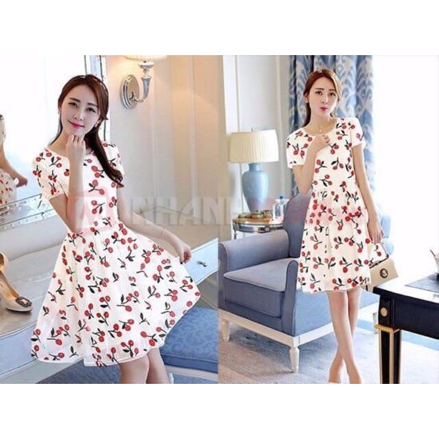 Đầm xoè cherry bigsize ( từ 65-80 ký ) siêu xinh