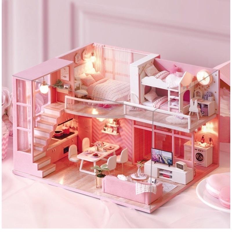 L026 mô hình nhà búp bê diy house(tặng mica,keo dán,đèn led)