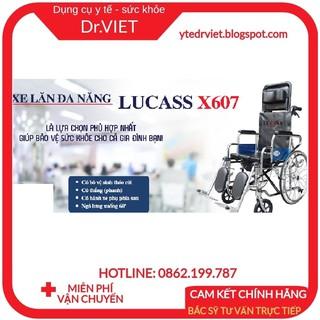 Xe lăn cao cấp đa năng Lucass X607-Xe ngả nằm có bô, có thắng, 2 bánh xe chống lật cho người già, bệnh nhân, khuyết tật thumbnail