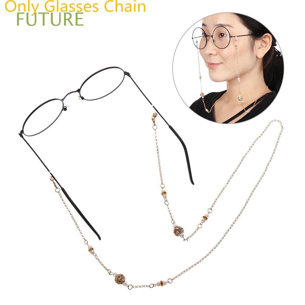 FUTURE Luxury Women Imitation Pearl Metal Reading Glasses Glasses Chain