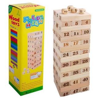 Bộ đồ chơi Rút gỗ 48 thanh và 4 xúc xắc