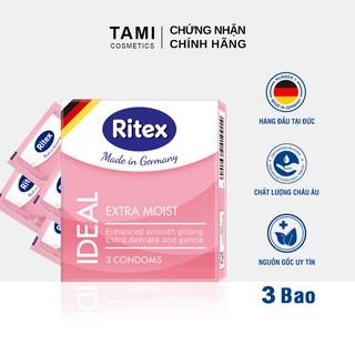 Bao cao su RITEX IDEAL Siêu ẩm ướt - Êm ái và Dịu dàng Hàng đầu tại Đức [Hộp 3 chiếc] Có che tên RI-I thumbnail