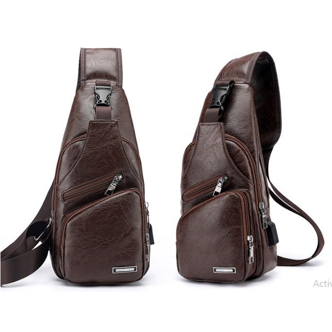 Combo 2 túi da đeo chéo phong cách Nam Nữ tặng cáp sạc , túi kaki , túi vải