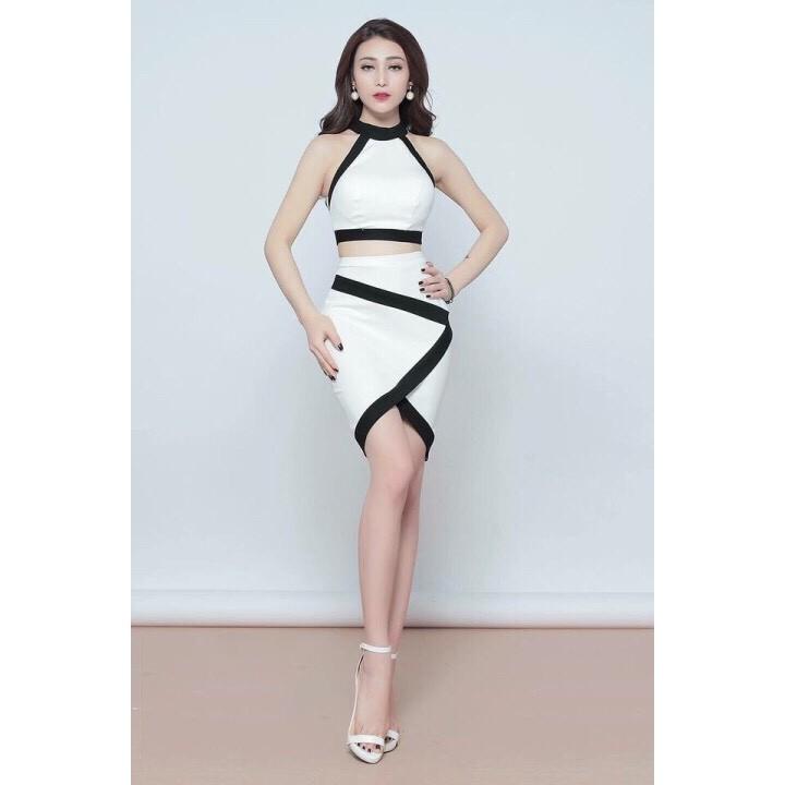 Bộ Áo yếm croptop và Chân váy trắng viền đen