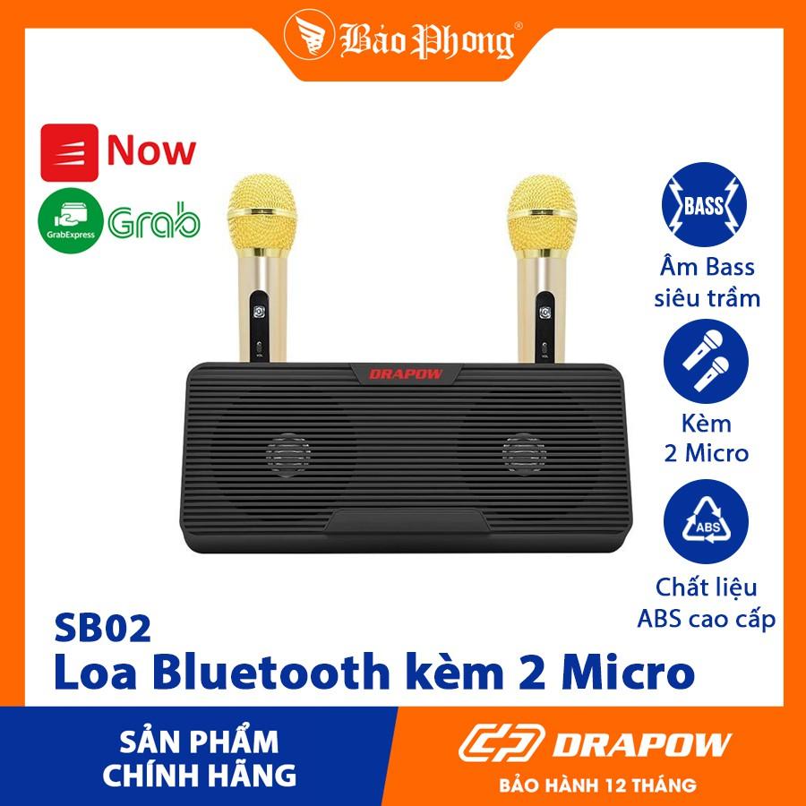 Loa Bluetooth hát Karaoke Drapow SB02 kèm 2 Micro kết nối điện thoại di  động không dây cỡ lớn mini để bàn nhỏ gọn giá rẻ - Loa Bluetooth