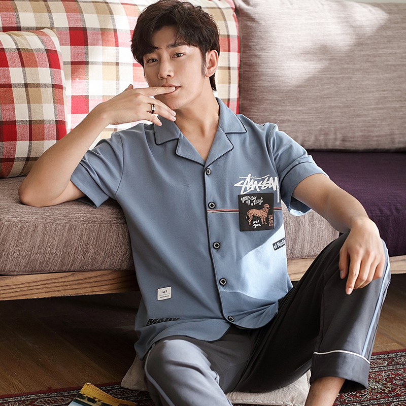 Đồ bộ nam mặc nhà Pijama cộc tay khỏe khoắn, sang trọng, vải cotton 100% mềm mại và thoáng mát