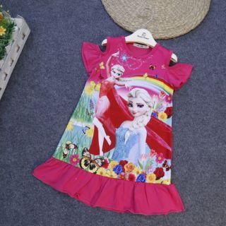 Váy Elsa chất cotton cho bé từ 5-12y