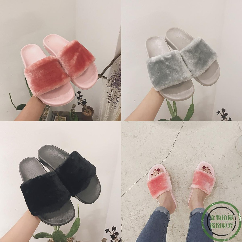 ♥New spot ♥2017 autumn and winter new fur slippers women fas