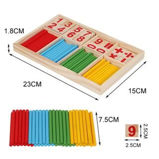 Bộ hộp que tính học toán kèm số và phép tính gỗ