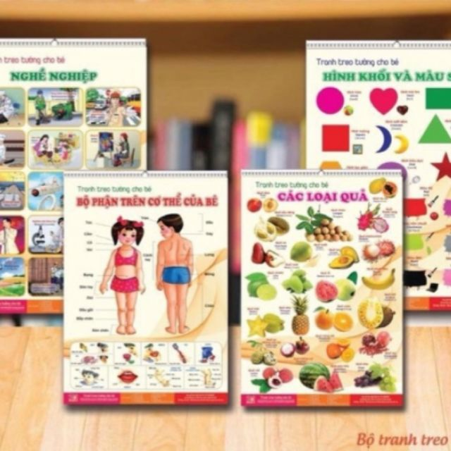 Bộ tranh treo tường song ngữ 14 chủ đề về thế giới xung quanh cho bé