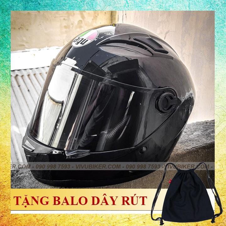 Nón bảo hiểm fullface AGU đen bóng limited tặng kèm balo dây rút - Mũ bảo hiểm agv agu đen bóng fullblack cực ngầu