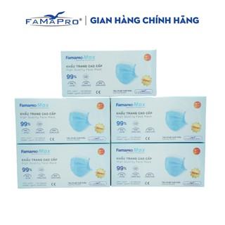 Combo 5 hộp khẩu trang y tế 4 lớp kháng khuẩn cao cấp Famapro max màu xanh (40 cái hộp) thumbnail