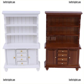 LEFT 1/12 Dollhouse Miniature Furniture Multifunction Wood Cabinet Bookcase Cabinet VN