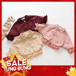 Áo khoác dài tay phối ren xinh xắn dành cho bé gái -Hàng nhập khẩu