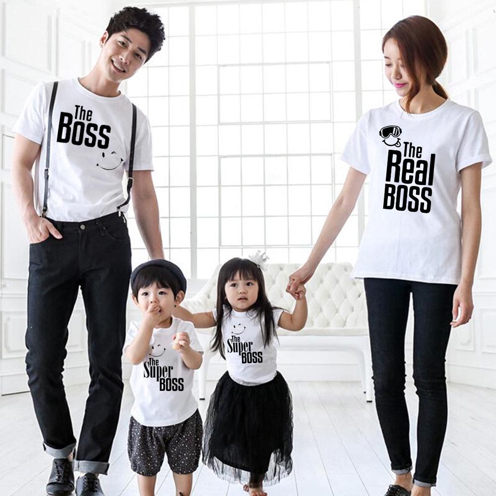 Áo Thun Gia Đình In Chữ The Boss & Super Boss / Mom / Son Thời Trang