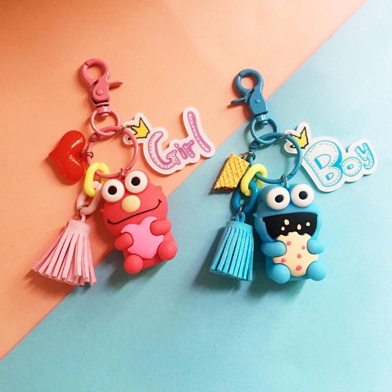 Cute Cartoon KAWS Elmo Keychain Creative Prsonality Car Keychain Bag Pendant