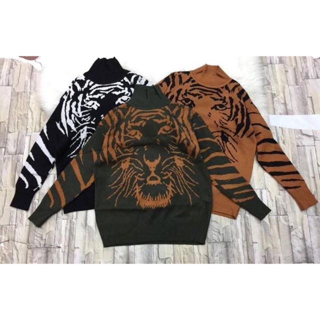 Áo len in mặt hổ