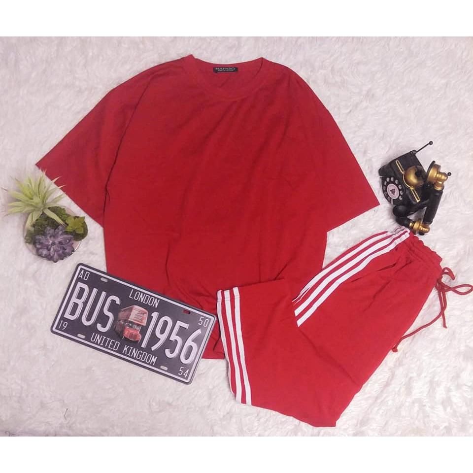 [COMBO TIẾT KIỆM] Set áo đỏ + quần 3 sọc đỏ unisex