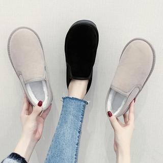 Giày Lười Phối Nhung Cotton Thời Trang Mùa Đông Cho Nữ