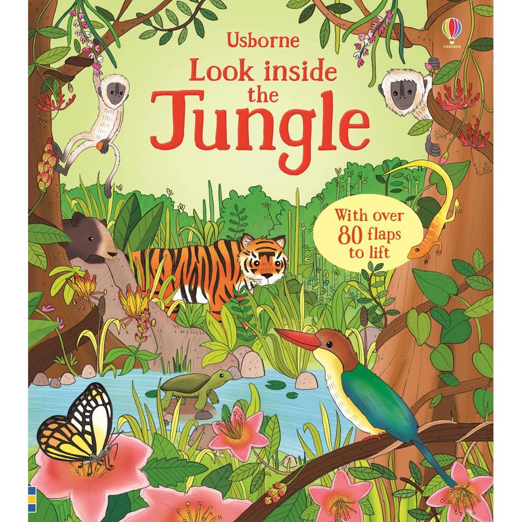 Sách lật mở Look Inside Jungle Usborne cho bé