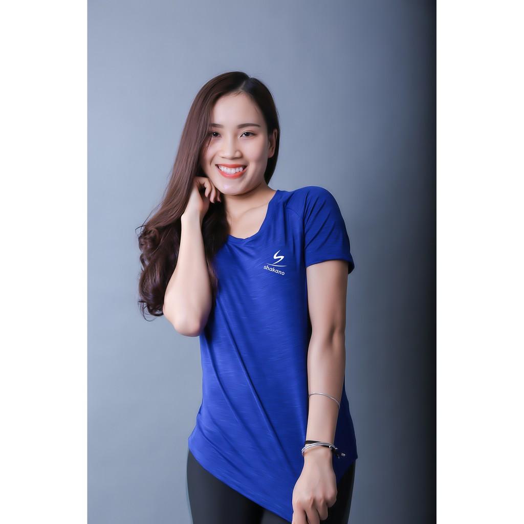 Áo phông vân gỗ xanh cobalt tập luyện Yoga FItness cao cấp Shakano