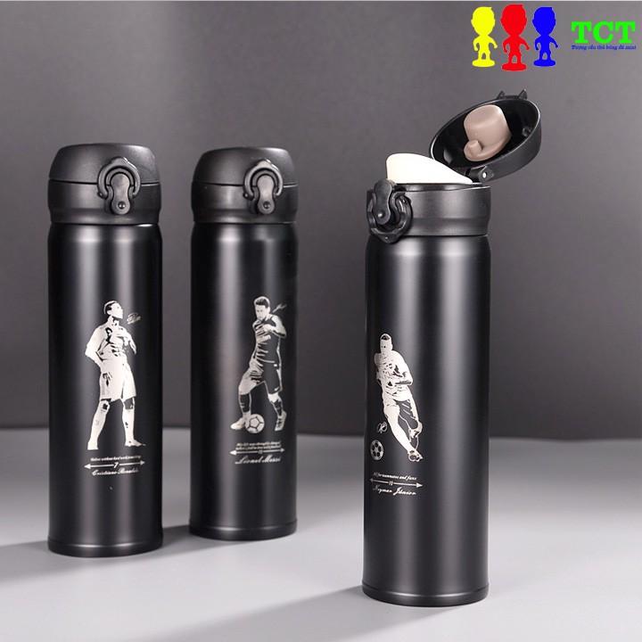 Bình giữ nhiệt 500ml inox 304 tráng bạc giữ nhiệt tối ưu hơn 8H logo cầu thủ bóng đá CR7, Messi, Neymar
