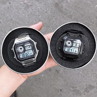 [HOT 2021]Đồng hồ nam Casio AE 1200-WHD classic chống nước , dây thép không gỉ (dây bạc mặt đen)-FULL BOX THiếc chínhãng