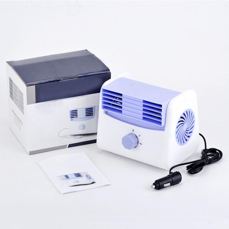 Blue DC 12V-24V Car Air Conditioner Quiet Cooling Fan Mini