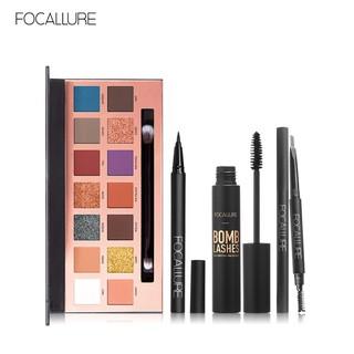 Bộ trang điểm mắt FOCALLURE gồm phấn mắt / phấn chân mày / bút kẻ mắt/ mascara