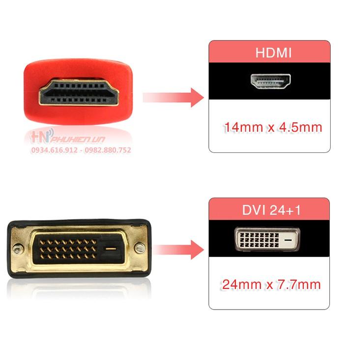 Cáp HDMI to DVI 24 +1 (Loại tốt)- Dây Dù - Truyền Dẫn Tín Hiệu Tốt