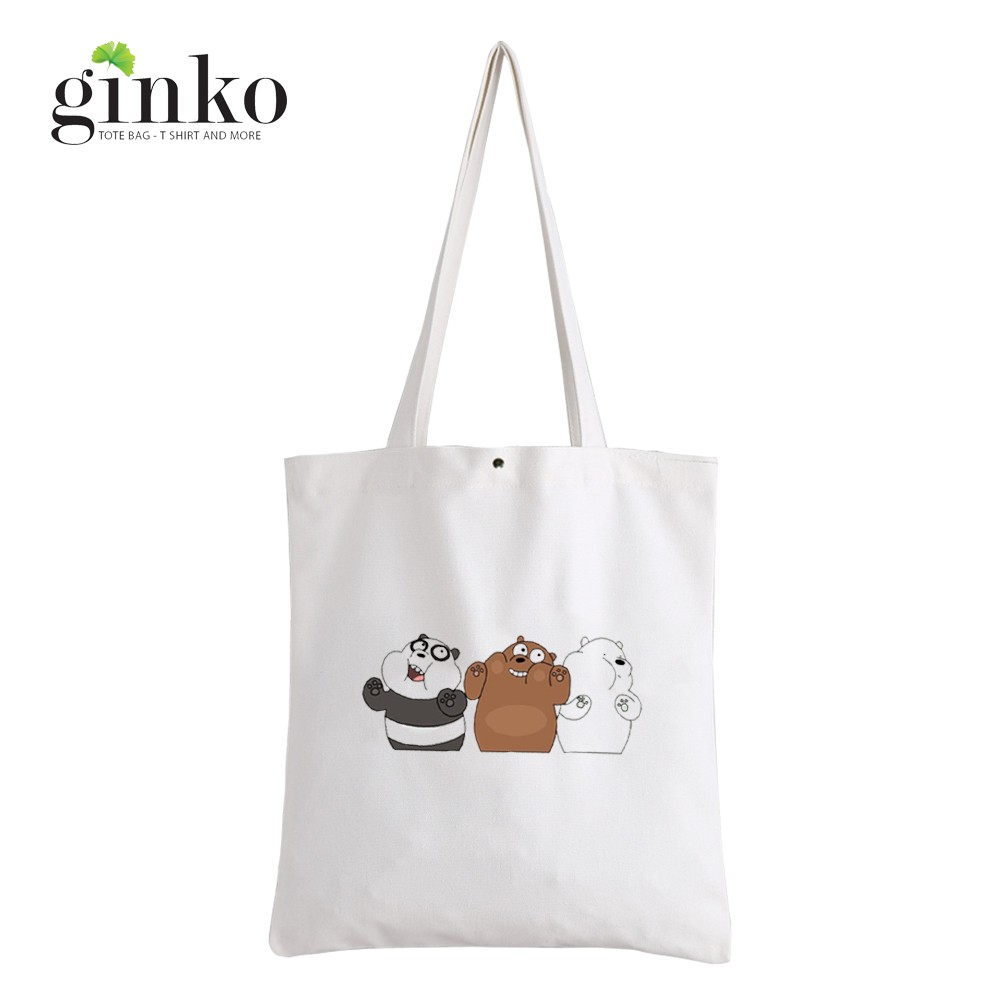 Túi Vải Tote GINKO Kiểu Basic Nút Bấm In Hình We Bare Bears