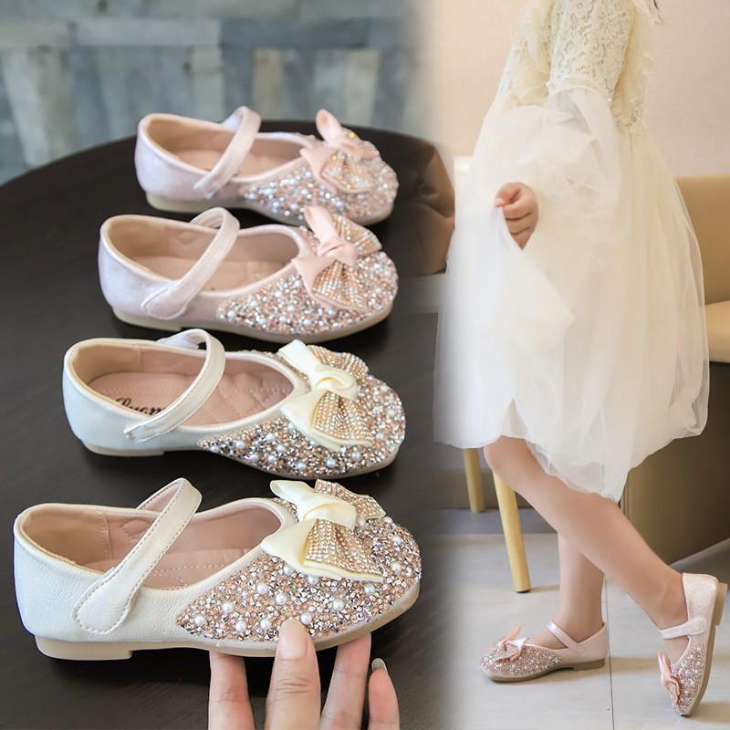 Giày Búp Bê Bé Gái Gắn Nơ Đính Kim Sa Lấp Lánh Giày Bé Gái từ 3-14 tuổi Phong Cách Công Chúa G26