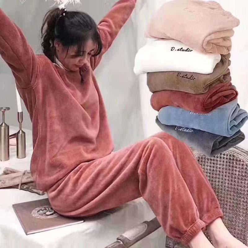 Mặc gì đẹp: Ngủ ngon hơn với [Đồ Ngủ Tay Dài Hoạ Tiết Thêu Thời Trang Thu Đông Cho Phái Nữ